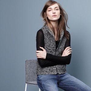 Eileen Fisher Knit Black Gray Shawl Collar Vest